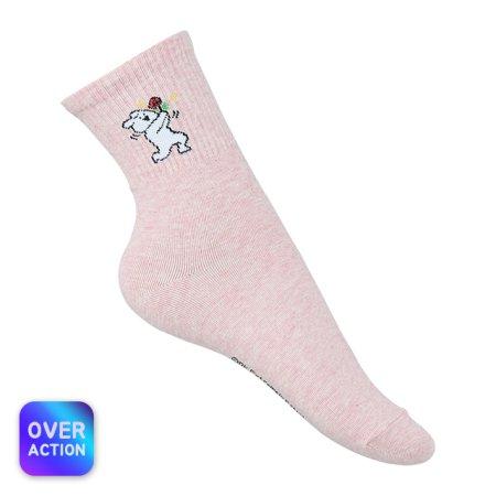 오버액션토끼 양말 멜란지-핑크