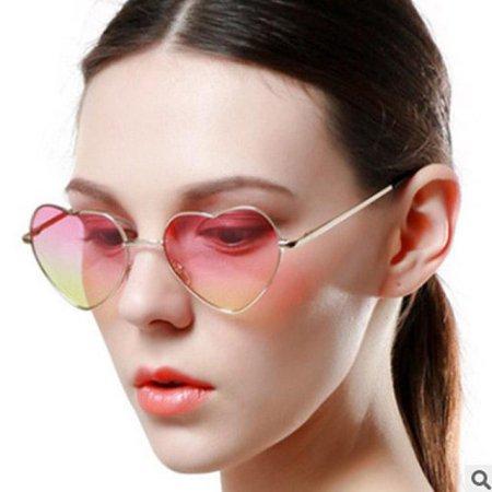 패션 하트 선글라스 안경 스타일 블루