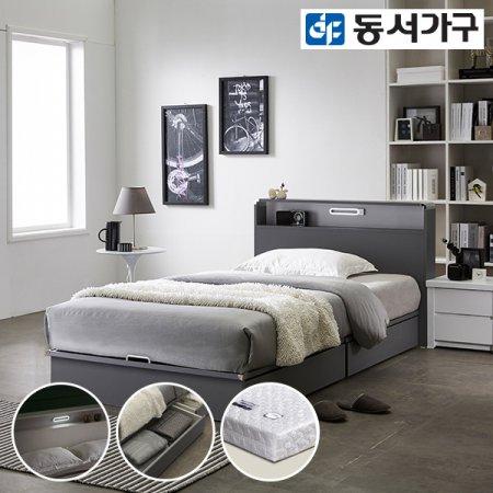 델라301 LED 평상서랍형 슈퍼싱글 침대+양면매트리스 DF637981 _오크