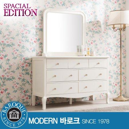 W 메종) 로맨틱 와이드서랍장 + 거울셋트 크림화이트