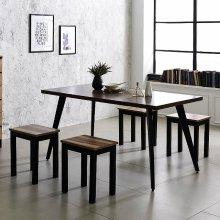 스틸 인더밴 1500식탁세트 일자형 철제 테이블책상 상판_LPM아카시아(K22-815A):의자_아카시아_1인(T9)_4개