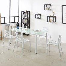K33 테이블 1500세트 다용도테이블 스틸책상 4인식탁 프레임_블랙(K33-815)/상판_아카시아:의자_체크_그린_4개