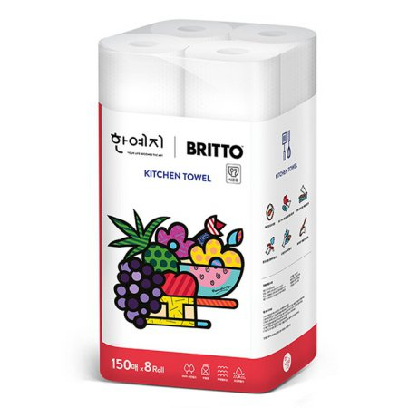 (무료배송) 브리토 천연펄프 키친타올 150매 8롤 1팩