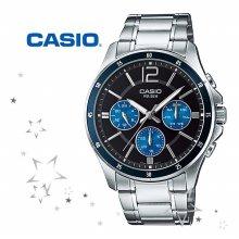 카시오 MTP-1374D-2A 남성 메탈밴드 손목시계