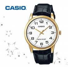 카시오 MTP-V001GL-7B 남성 가죽 손목 시계