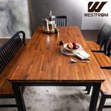 빈티지 핸슨) 원목 6인 식탁세트(벤치형) / 벤치, 체어4개 브라운