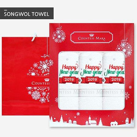 크리스마스타올 140g 3장 선물세트(박스+쇼핑백포함)_화이트 3장
