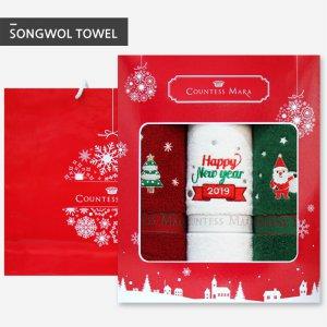 크리스마스타올 140g 3장 선물세트(박스+쇼핑백포함)