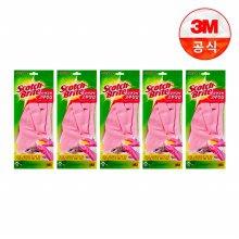 면코팅 분홍 긴 고무장갑 5개세트