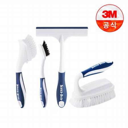 욕실청소용 브러쉬 4종세트(핸디브러쉬+대형다용도브러쉬+타일틈새브러쉬+유리닦이)