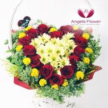 엘레강스 하트 일반형 꽃바구니 전국꽃배달