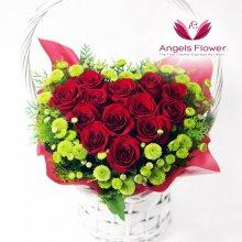 클래식레드하트 일반형꽃바구니 전국꽃배달