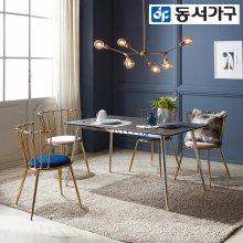 크라운C 이태리 천연 세라믹 4인 식탁+의자4 _다크그레이/그레이4