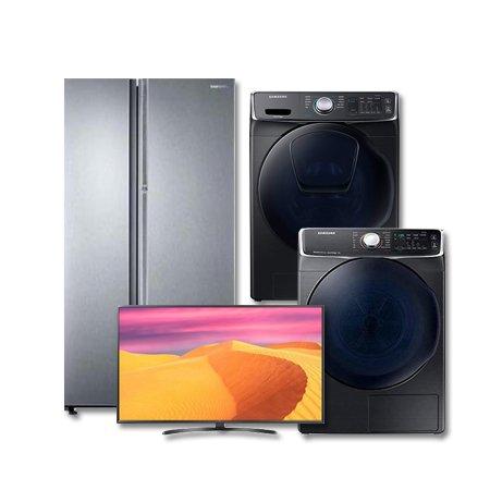 그랑데 의류건조기 DV14N8520KV [14KG]+123cm UHD TV 49UK6860BNF+양문형냉장고 RH62J8000SLB [620L]+드럼세탁기 WF17N7510TV [17KG]
