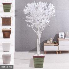 라인-화이트자작나무화분set 210cm (조화) FREOFT 벽면형:빈티지마야우드화분(28cm) 5-5