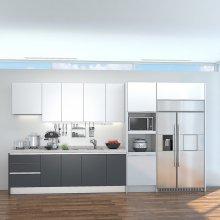 i그레이(키큰장+냉장고장/ㅡ자/-3.3m) 하이글로시 그레이 펄