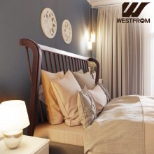 빈티지 잉그리드) 원목 평상형 침대(퀸) / 프레임만 브라운