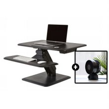 [하이메이드] [탁상형 USB 선풍기 증정] 전자동 높이조절 스탠딩 책상 HM-DESK01BK