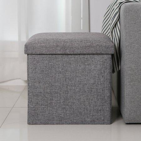 패브릭 접이식 수납 스툴 의자S (Gray)