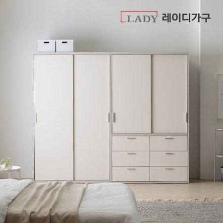 이안 빅 슬라이딩 옷장 2400 행거형+서랍형 _화이트도어/행거A형+서랍형