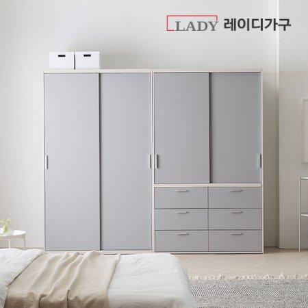 이안 빅 슬라이딩 옷장 2400 선반형+서랍형 _라이트그레이도어/선반B형+서랍형