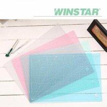 윈스타 PVC 반투명 305X100 데스크 커팅매트 (소) _블루