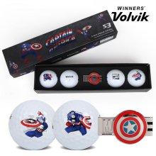 19 볼빅 S3 마블코믹스 골프공 LONG SET 4알 캡틴아메리카 볼마커 VOLVIK S3 MARVEL GOLF BALL