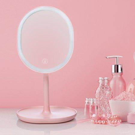 조이룸 JR-CY268 충전식 LED 화장대 확대 탁상 거울 핑크