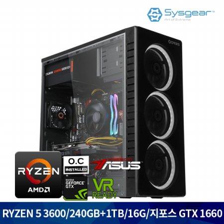 ICG362C 라이젠 5 3600/RAM16G/GTX 1660/SSD240/HDD1TB 게이밍컴퓨터