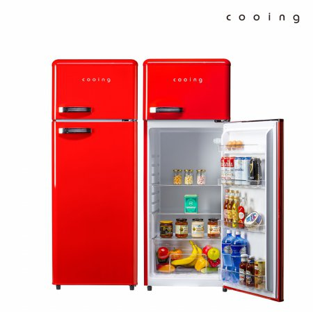 208L 레트로 2도어 냉장고 (레드) / REF-D215R