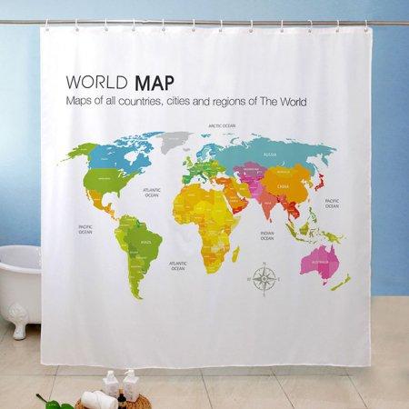 세계지도 월드맵 욕실커튼 방수 샤워 가리개
