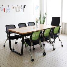 스틸뷰 1800테이블세트 책상 6인용 철제테이블 사무실