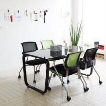 스틸뷰 1200테이블세트 4인용 철제테이블 책상 사무실