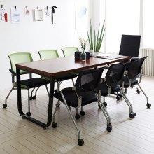 스틸뷰 1800테이블 6인용 미팅테이블 사무용 회의실