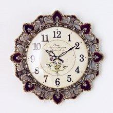 엔티크 메이플 저소음 벽시계 시계 레드