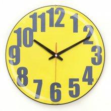 칼라 글라스 저소음 벽시계 (옐로우) 시계