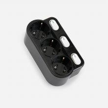 현대 회전형 개별 3구멀티탭 블랙 (스위치)