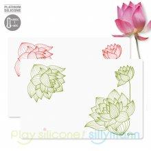실리콘 식탁매트 연꽃패턴 WSK3172