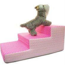 도트 3단 스텝 침대 계단 핑크 애견 용품 강아지_3D2933