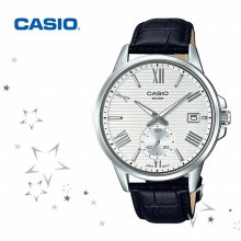 MTP-EX100L-7A 남성 패션 가죽 손목 시계