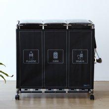 이지핏 3단 재활용 분리수거함 리치/가림막O/블랙