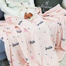 패턴 극세사 담요 대형 (160x200) 스마일 핑크