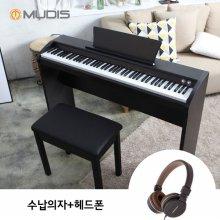 [블랙 8/19, 화이트 8/25부터 순차배송][뮤디스]전자 디지털피아노 MU-8H + 수납의자 + 헤드폰