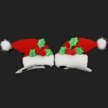크리스마스 어린이 학생 축제 2p 산타모자 머리핀 _4CCC1E