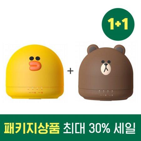 1+1 패키지 할인 라인 프렌즈 미니 가습기 OA-HM036+OA-HM037 (브라운+샐리)