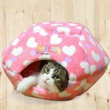반려 고양이 방석 휴식 공간 햄버거 모양 하우스 핑크_4903D4