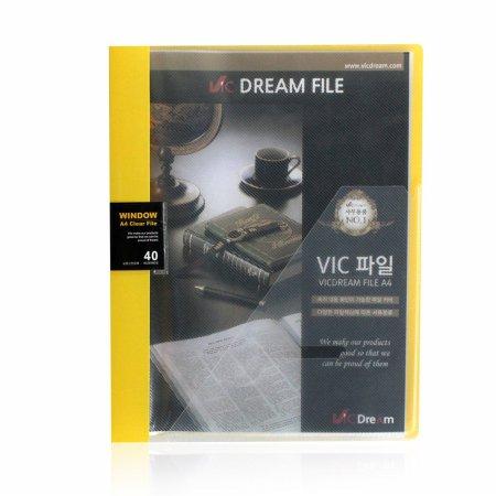 (당일배송) VIC 윈도우 클리어화일 40P 노랑