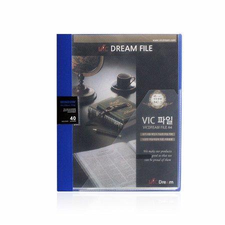 (당일배송) VIC 윈도우 클리어화일 40P 청색