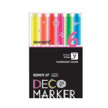 모나미 데코마카 463(가는닙) 형광 6색 세트