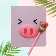 핑크돼지 캐릭터 다이어리 80매 (펜포함) - 찡긋표정